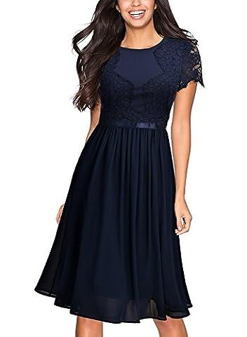 Miusol Women's Vintage Contrast Floral Lace Casual Mini Dress, Navy Blue, Large - Flare Mini Dress