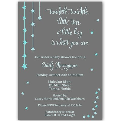 Twinkle Little Star Baby Shower Invitations Over The Moon Sprinkle Invites Wish Upon A Star Falling Stars Bright Night Gray Grey Blue Boys It's A Boy Customize Personalized (10 Count)]()