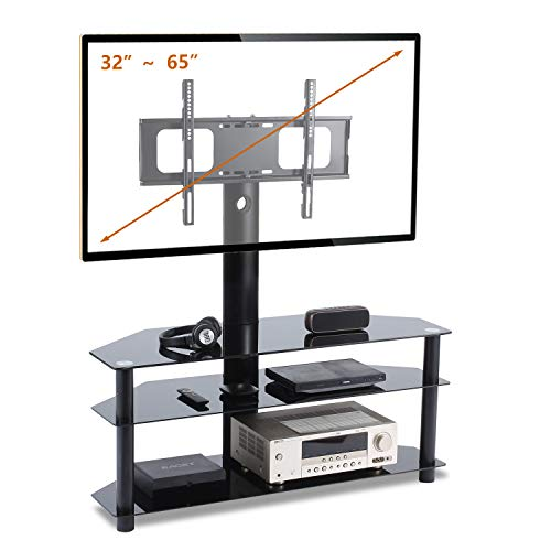 TAVR Swivel Floor TV Stand with Mount,3-in-1 Flat Panel Entertainment Stand for 32 37 42 47 50 55 60 65 inch Plasma LCD LED Flat or Curved Screen TVs TW1002
