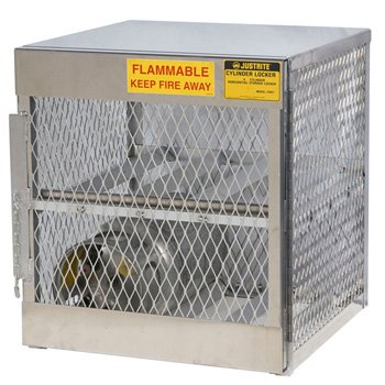 Justrite 30'' X 33 1/2'' X 32'' Aluminum Horizontal 4 Cylinder Storage Locker With (1) Manual Close Door And (1) Shelf (For Flammables) by Justrite