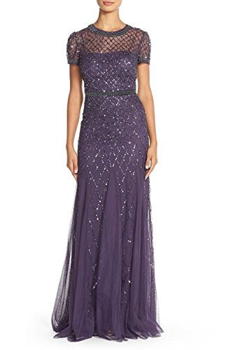 Adrianna Papell Women's Prune Cap Sleeve Fully Beaded Gown 12