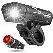 #LightningDeal [2020 Latest] USB Rechargeable Super Bike Headlight and Back Light Set, Runtime 10+ Hours 600 Lumen Bright Front Lights and Tail Rear LED, 5 Light Mode Options Fits All Bicycles, Road, Mountain