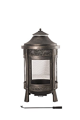 Sunjoy Large Cast Steel Outdoor Fireplace, 62″, Brown
