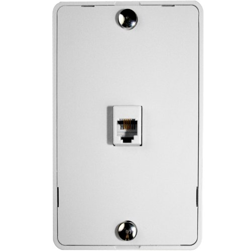 Phone Jack Wall Plate - Mediabridge Wall Mount with Telephone Jack (1-Port) (White)