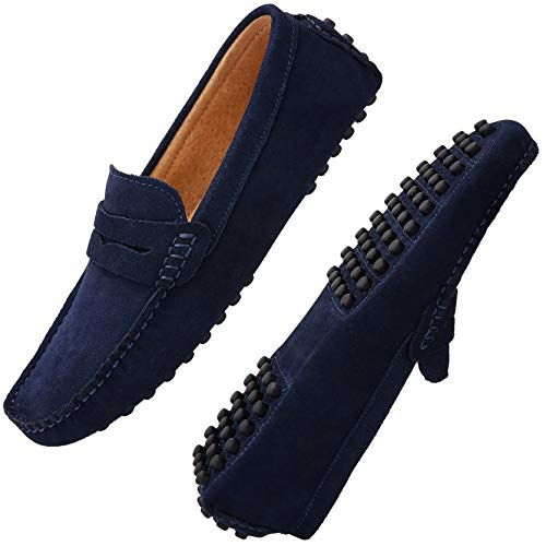 JIONS Men's Driving Penny Loafers Suede Driver Moccasins Slip On Flats Casual Dress Shoes Blue 12 D(M) US/EU 48
