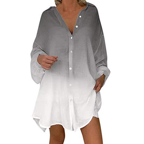 PEIZH Women Casual Gradient Top Long Sleeve Shirt Irregular Blouses Button Loose Tops Print Sunscreen Shirt ()