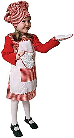 Toddler T4 Red Gingham Girl Chef Costume Set