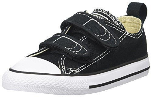 Converse Boys' Chuck Taylor All Star 2V Low Top Sneaker, Black, 2 M US Infant (All Star Converse For Baby Boy)