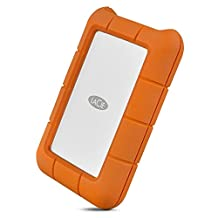 LaCie Rugged USB-C and USB 3.0 4TB Portable Hard Drive-STFR4000800, Orange, Silver