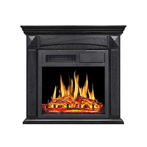 R.W Flame Electric Fireplace Mantel Wooden Surround Firebox Free Standing, Adjustable Led Flame, Remote Control (Black)