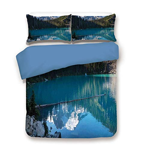 Duvet Cover Set Queen Size, Decorative 3 Piece Bedding Set with 2 Pillow Shams, Lake in Northern Canada with Slim Trees and Snowy Frozen Mountain Novelty - C40 Rose
