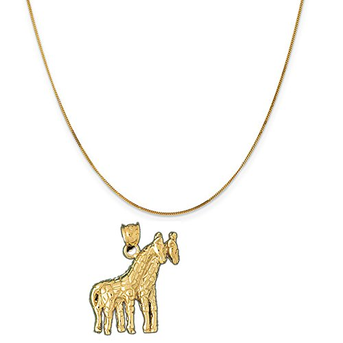 14k Yellow Gold Giraffe Pendant on a 14K Yellow Gold Curb Chain Necklace, 20