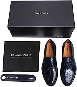ELANROMAN Dress Shoes for Men Loafers Genuine Leather Crocodile Business Casual Shoes Navy US 9 EU 42 Foot Length 296.00mm