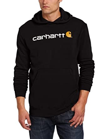Carhartt .100074.001.S005 Signature Logo Hooded Sweatshirt, Colour: Black,  Size: