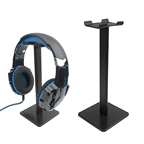 Gaming Headphone Stand with Aluminum Supporting Bar Flexible Headrest ABS Solid Base Suitable for Most Types of Headphones Sizes Black (Headset - Of Head Types Shapes