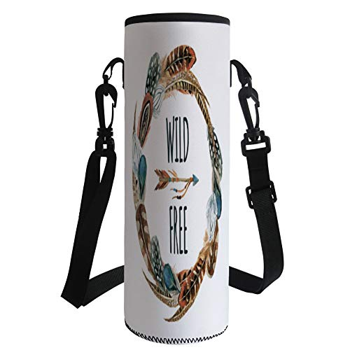 iPrint Water Bottle Sleeve Neoprene Bottle Cover,Feather,Watercolor Wreath Bird Feathers Circle with an Arrow Wild and Free Concept Decorative,Brown Orange Blue,Fit for Most of Water Bottles by iPrint