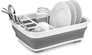 Escurreplatos plegable para fregadero de cocina, mesa de escurridor, cubertería, plegable, color blanco y gris: Amazon.es: Hogar