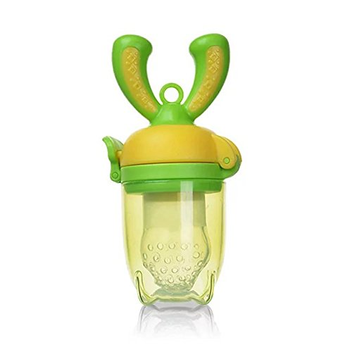 COFFLED Pink& Green Baby Food Feeder for Fresh Fruit & Vegetable.BPA Free Teeth Nibble Pacifier for Baby 4+ - Free Delivery Hm