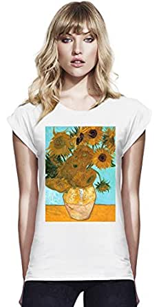 Vase With Sunflowers Van Gogh Painting Womens Continental Rolled Sleeve T-Shirt Large