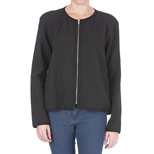 Tanya Taylor Womens Lulu Textured Collarless Jacket Black 8 (Jacket Textured Silk)