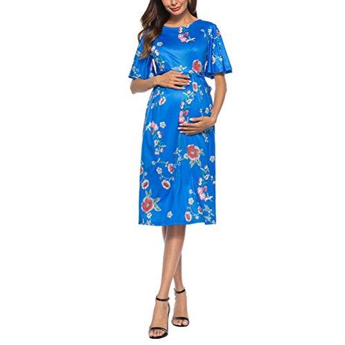 Zhuhaijq マタニティワンピース 授乳服 授乳口 半袖 ロング シルエット リゾート カジュアル Maternity Pregnancy Maxi Breastfeeding Dress Women's Floral Summer Skirts