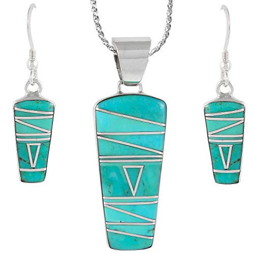 (Sterling Silver and Genuine Turquoise Necklace & Earrings Matching Set (Geometric Inlay))