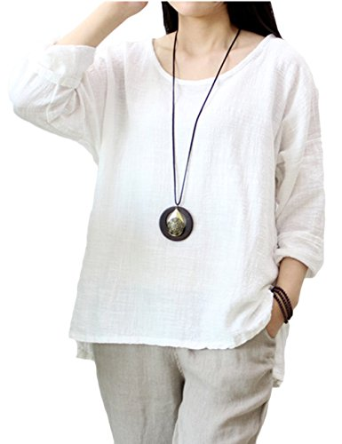 Asher Women's Casual Loose Long Sleeve Round Collar Cotton Linen Shirt Blouse Tops (One Size, White) - Linen Blend Shirt Top