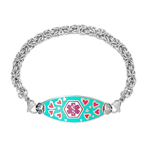 Divoti Deep Custom Laser Engraved Loving Heart Medical Alert Bracelet -Stainless Handmade Byzantine-Purple-7.5