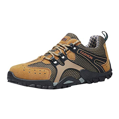 8' Leather Waterproof Safety Toe - Corriee Hiking Shoes for Men Casual Non-Slip Wear-Resistant Sneakers Mesh Travel Shoes Khaki