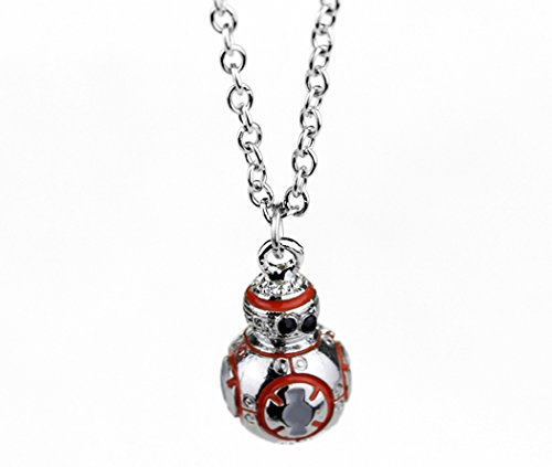BB-8 Silver Star Wars Force Awakens 3D NECKLACE Pendant Charm Jewelry (Silver Charm Necklace Star)