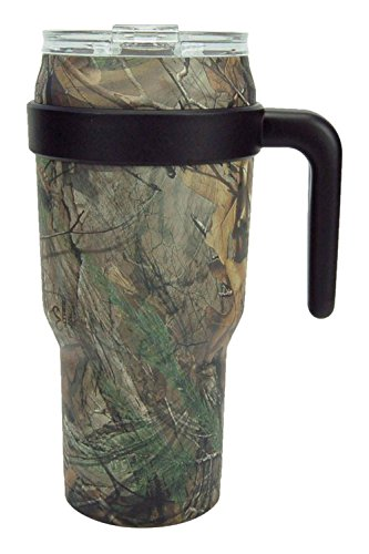 Reduce COLD-1 Stainless Steel 40 oz Thermal Mug- Vacuum Insulated Sweat Proof Travel Mug- Keep Beverages Ice Cold Up To 30 Hours-Includes Lid and Ergonomic Handle (Realtree Xtra (Camo Stainless Handle)