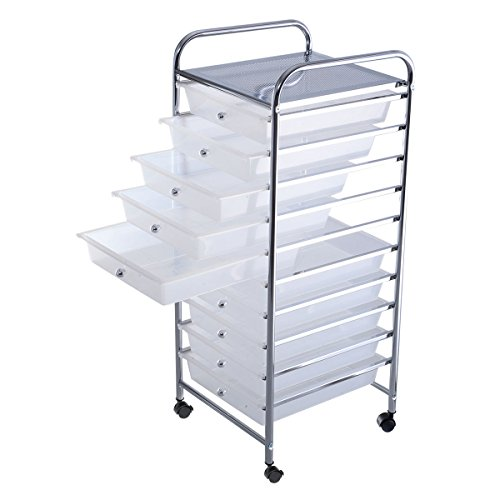 10 Drawer Rolling Storage Cart Scrapbook Paper Office School Organizer Clear by Alitop