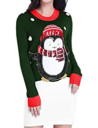 Christmas Sweater, V28 Women Ugly Vintage White Red Merry...