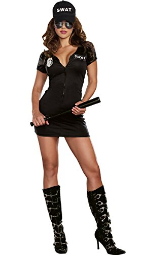 Sexy Tac Team SWAT Force Chief Officer Dress Outfit Police Costume Adult Women -