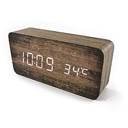 Plank Wood Grain Pattern Wooden Digital Alarm Clock Multi-Functional LED Smart Alarm Clock USB Supply Sound Control Alarm Clock Office Decoration Digital Alarm Clock Student Alarm Clock