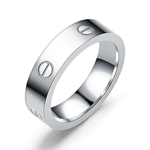 HIMAN Silver Love Ring Couples Promise Engagement Wedding Band Titanium Stainless Steel Size 8 by HIMAN