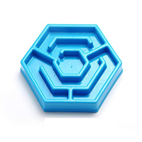 Hexagonal Maze (bluee) ZHBWJSH Dog Bowl, Slow Food Bowl, Dog Food Bowl, Pet Supplies, Multi-color Optional (color   Hexagonal Maze (bluee))