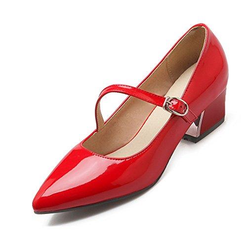 Balamasa - Hebilla Antideslizante Para Mujer Con Punta En Punta, Zapatos De Charol, Zapatos De Color Rojo