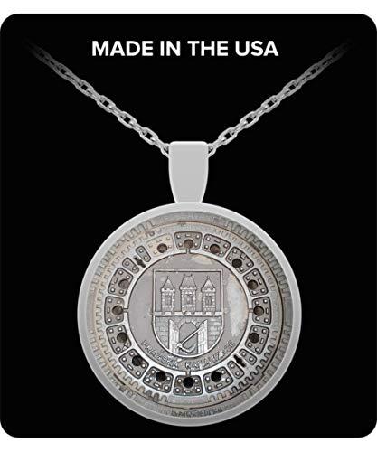 TumD Prague Necklace Souvenir Silver Plated Manhole Gift from Czech Republic Praha