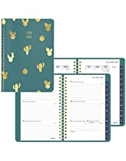 Blueline Weekly/Monthly Academic Planner, Green Vicuana Cover with Cactus Foil Stamping, Monthly Tabs, Twin-Wire Binding, Trilingual, 8 X 5 Inches (CA155B.01-21)