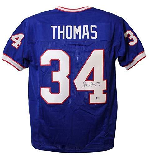 Thurman Thomas Autographed/Signed Buffalo Bills Blue XL Jersey HOF BAS