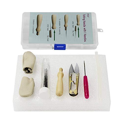 Needle Felting KitWool Felt Tools-7 Felting Needles Wooden Needle Holder Bottle Foam Mat Scissors Awl Glue Stick Leather Finger Cots with Storage Box ()