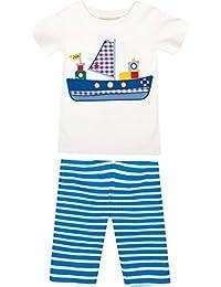 JoJo Maman Bebe Boat Pj Set (Toddler/Kid) - Cobalt/White Stripe-4-5