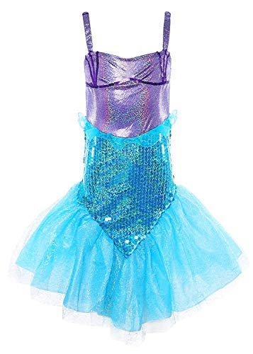 MOREMOO Little Girl Sequins Princess Mermaid Costume Dress with Tail(Blue 5) -