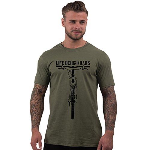 Men's Life Behind Bars Mountain Biking T Shirt Olive L