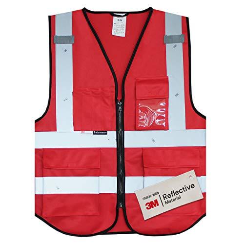 Multi Da 3m Con Riflettente Lavoro Nastro Realizzato Tasche Gilet Rosso Salzmann nfqI1SHI
