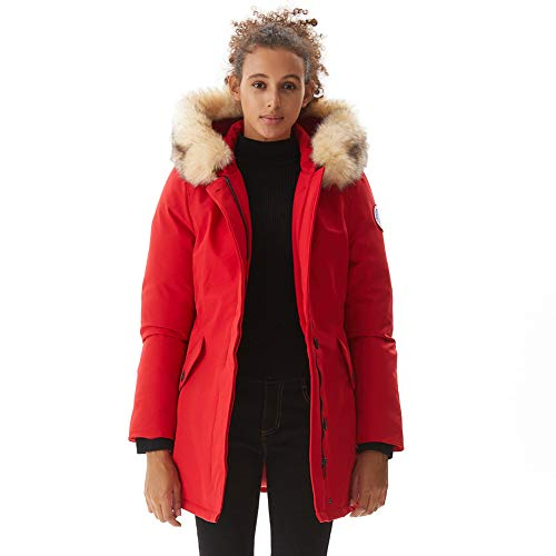 PUREMSX Women's Winter Down Jacket Ladies Cold Weather Windproof Insulated Warm Overcoat Hooded Parkas Thicken Faux Fur Outwear Ski Jacket Coat Gifts for Wife,Red,Medium (Lady Down Jacket)