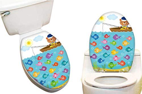 Vinyl Toilet Set Cover Paper Decor for worksheet for Kindergarten Kids to Learn Count Number Bear Fashion Toilet Seat Sticker Vinyl Art13 x15.5