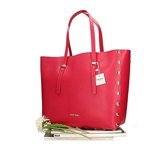 Saffiano véritable Sac en in Bags Cm Made cuir femme POP Italy à main Fuchsia 34x31x15 Impression 7f0xwxqF