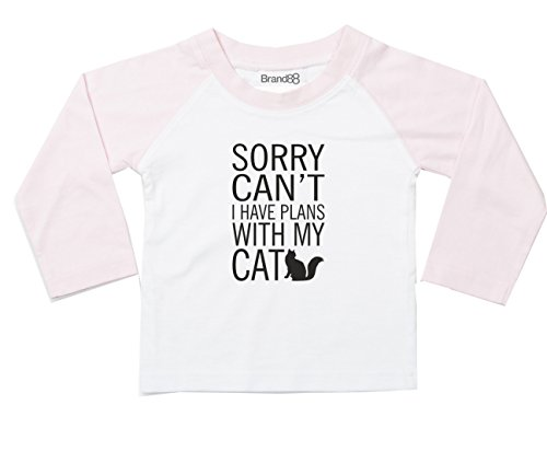 I Have Plans With My Cat, L/S Baseball T-Shirt - White & Pink 0-6 mths